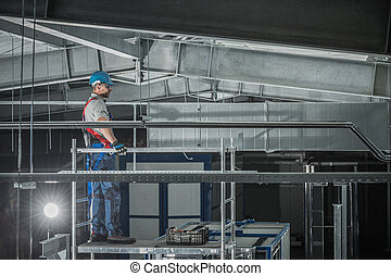 Air Ventilation Shaft Assembly In Warehouse. - Cool And Hot ...