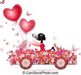 air, voitures, fleur, femme, valentines