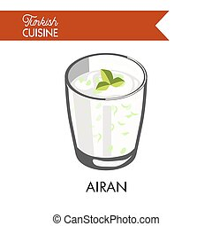 Airan with herbs in transparent glass isolated illustration...
