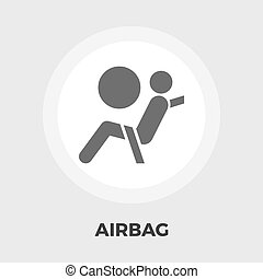 Airbag flat icon - Airbag icon vector. Flat icon isolated on...