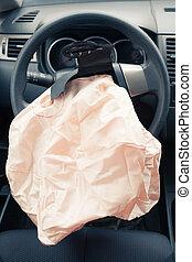 airbag, hjul, styrning, exploderar