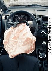 airbag, koło, sterowniczy, wybucha