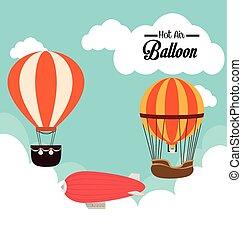airballoon, backgroundvector, felett, cloudscape, ábra, tervezés