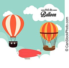 airballoon, backgroundvector, sur, cloudscape, illustration, conception