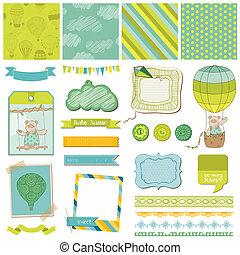 airballoon, -, beer, vector, ontwerp, baby, plakboek, communie