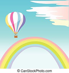 Airballoon with Colorful Stripes in Sky Rainbow