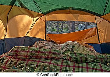 airbed, zelten zelt, ungemacht, innenseite