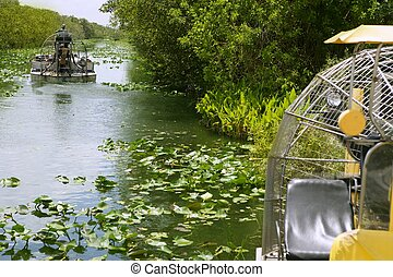 Airboat in Everglades Florida Big Cypress National Preserve...
