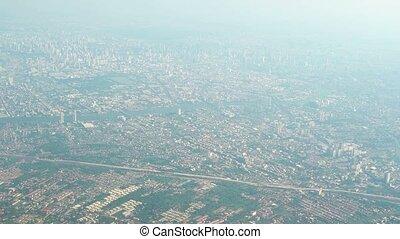 """""""airborne, 1080p"""", day., vidéo, asiatique, cityscape, brumeux, s'étendre, vue"""