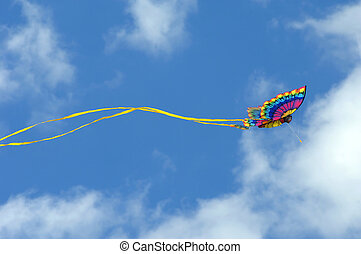 Airborne and free - Gorgeous butterfly kite soars against a...