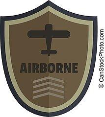 Airborne icon logo, flat style