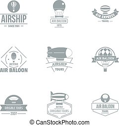 Airborne logo set, simple style
