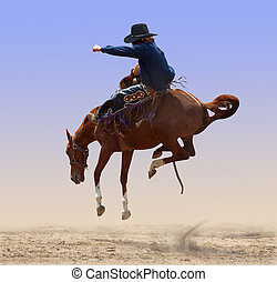 Airborne Rodeo Bronco - Bucking Rodeo Horse isolated with...