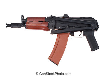 airborne version of kalashnikov assault rifle isolated on a white background