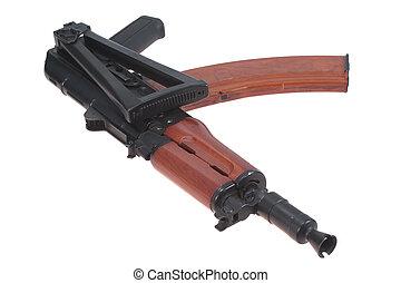 airborne version of kalashnikov rifle isolated on a white background