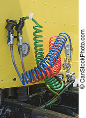 Airbrake Connections On Semi-Truck