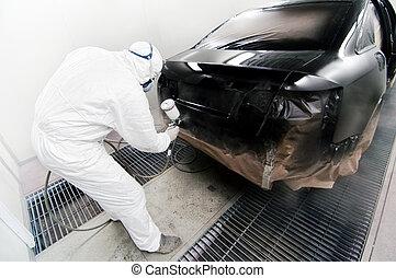 airbrush, coche, trabajador, arma de fuego, garaje,...