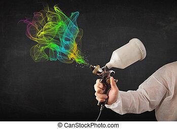 airbrush, colorito, lavorativo, vernici, vernice, pittore