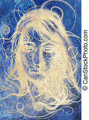 Airbrush painting Woman and lines, Invert effect. - Airbrush...