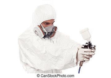 airbrush, trabajador, arma de fuego