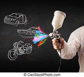 airbrush, wóz, ciemny, malować, kiść, motocykl, tło, rysunek, łódka, człowiek