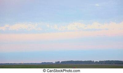 Airbus 320 landing, early morning - Airbus 320 landing wet...
