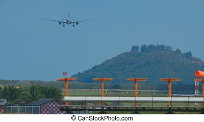 Airbus 330 approaching in Phuket International airport.