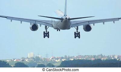 Airbus 330 landing to runway 25R Frankfurt airport.