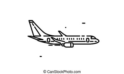 Airbus A321 line icon is one of the Aircraft icon set. File contains alpha channel. From 2 to 6 seconds - loop.