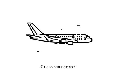 Airbus A380 line icon is one of the Aircraft icon set. File contains alpha channel. From 2 to 6 seconds - loop.