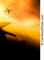 airbus - airplane fly at sunset sky background.