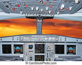airbus cockpit during flight