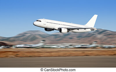 Airbus taking off - Airbus plane taking off on Athens...