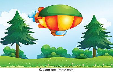 aircarft, colline, coloré, au-dessus