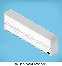 airconditioner, blanco, isométrico