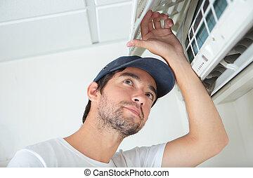 airconditioning, arbeider, onderhoud