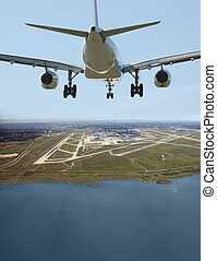 Aircrafft before landing in Vancouver International Airport (YVR)