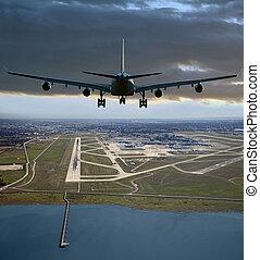 aircrafft, (yvr), aterrizaje, aeropuerto, vancouver, internacional, antes