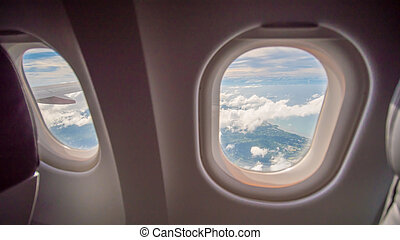 aircraft., внутри, окно, самолет, сиденье