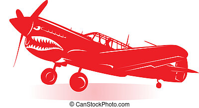 Aircraft - A WW2 fighter airplane in red silhouette.