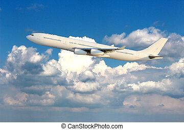 Aircraft above sky