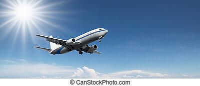 aeroplane flying on a clear blue sky