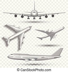 Aircraft, airplane, airliner in different point of view...