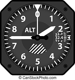 Aircraft altimeter - Vector illustration of analogical...