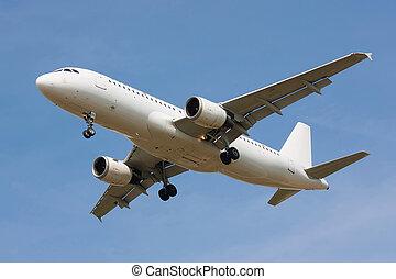 An aircraft on blue sky