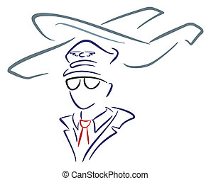 Aircraft and pilot - Airline pilot wearing uniform with hat