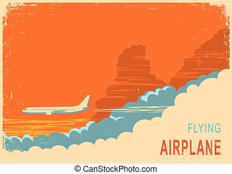 Aircraft and sky.Vector retro poster background on old texture