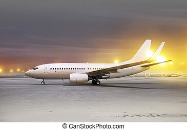 aircraft at non-flying weather - white aircraft in airport...