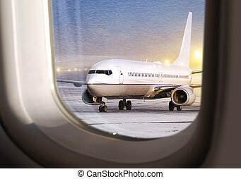 aircraft at not flying weather - white aircraft in airport...