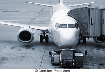 Aircraft boarding - Aircraft standing at the airport ready...